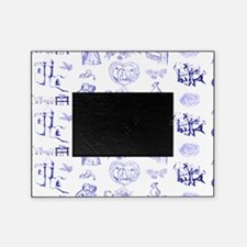 Blue Toile Pattern on 5x7 feet rug Picture Frame