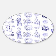 Blue Toile Pattern on 5x7 feet rug Decal