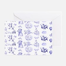 Blue Toile Pattern on 5x7 feet rug Greeting Card