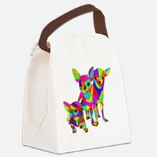 3 Colored Chihuahuas Canvas Lunch Bag