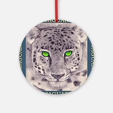 Green Eyed Jaguar Round Ornament