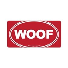 WOOF! Red Aluminum License Plate