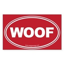 WOOF! Red Bumper Stickers