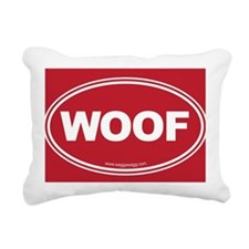 WOOF! Red Rectangular Canvas Pillow
