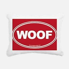 WOOF! Red Rectangular Canvas Pillow