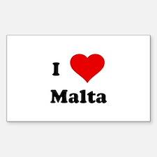 I Love Malta Rectangle Decal