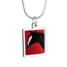 Horse Silver Square Necklace