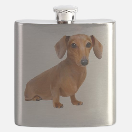 Red Painted Doxie Flask