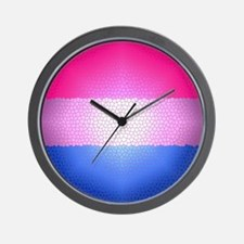 Bisexual Pride Flag - Stained Glass Des Wall Clock