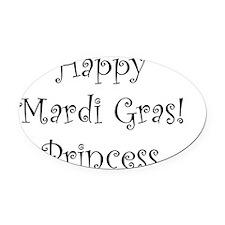 Happy Mardi Gras Princess Oval Car Magnet