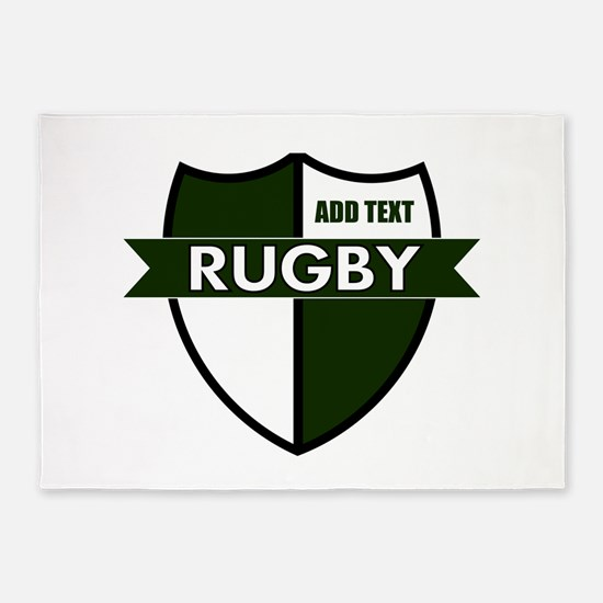 Rugby Shield White Green 5'x7'Area Rug