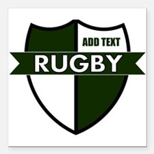 """Rugby Shield White Green Square Car Magnet 3"""" x 3"""""""