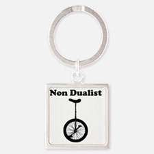 Non Dualist Unicycle Light Square Keychain