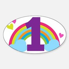 1st Birthday Rainbow Hearts Decal
