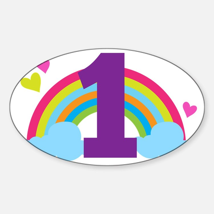 1st Birthday Rainbow Hearts Sticker (Oval)