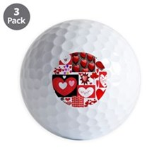 Collage of Hearts Golf Ball