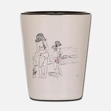 kids at beach Shot Glass