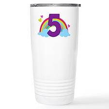 5th Birthday Girls Rain Travel Mug