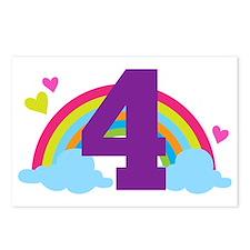 4th Birthday Rainbow Hear Postcards (Package of 8)