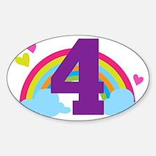 4th Birthday Rainbow Hearts Sticker (Oval)