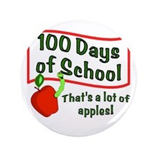 """100th Day Apple 3.5"""" Button"""