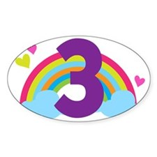 3rd Birthday Hearts and Rainbow Decal
