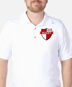 Rugby Shield White Red Golf Shirt