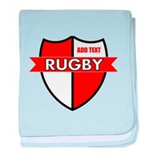 Rugby Shield White Red baby blanket