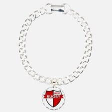 Rugby Shield White Red Bracelet