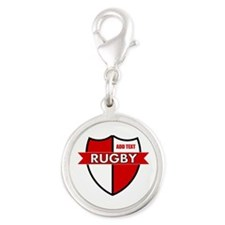 Rugby Shield White Red Silver Round Charm