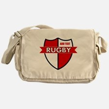 Rugby Shield White Red Messenger Bag