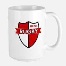 Rugby Shield White Red Large Mug