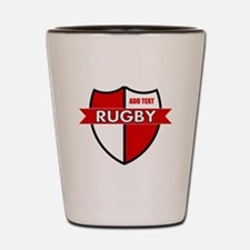 Rugby Shield White Red Shot Glass