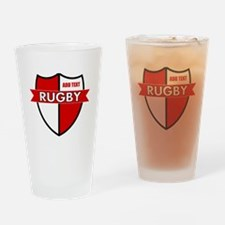 Rugby Shield White Red Drinking Glass
