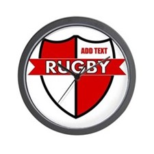 Rugby Shield White Red Wall Clock