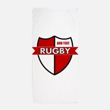 Rugby Shield White Red Beach Towel