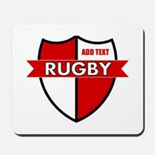 Rugby Shield White Red Mousepad