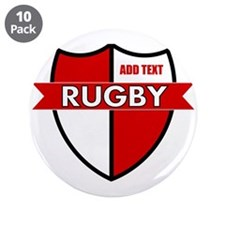 """Rugby Shield White Red 3.5"""" Button (10 pack)"""