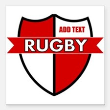 """Rugby Shield White Red Square Car Magnet 3"""" x 3"""""""