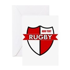 Rugby Shield White Red Greeting Card