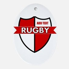 Rugby Shield White Red Ornament (Oval)