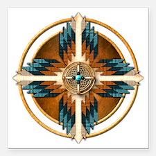 "Native American Mandala  Square Car Magnet 3"" x 3"""