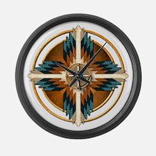Native American Mandala 02 Large Wall Clock