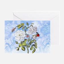 6 Vintage Peonies, Butterflies M S M Greeting Card