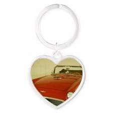 Red 1957 Ford Thunderbird Heart Keychain