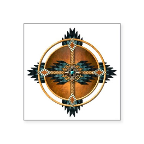 "Native American Mandala 04 Square Sticker 3"" x 3"""