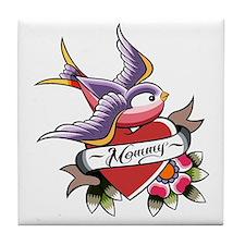 Tattoo heart mommy Tile Coaster