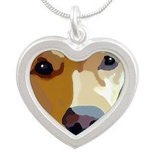 golden retriever Silver Heart Necklace