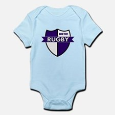Rugby Shield White Purple Infant Bodysuit