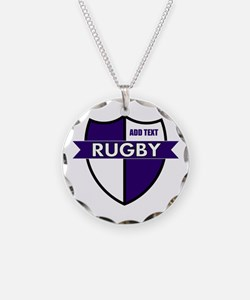 Rugby Shield White Purple Necklace